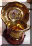 Gold Pickard Style Demicup and Saucer Figural Scene